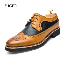 YIGER New Men Brogue shoes Bullock Men Dress Shoes Man Wedding shoes Lace-up Mixed color Red/Yellow   0077