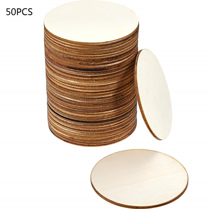 50pcs Wooden Diy Painted Small Round Plate White Diy Decorative Wood Piece Children's Decorative Board