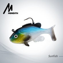 "Meredith 3.15"" Sunfish Fishing Lures 3pcs 21.6g Lead Head Fishing Soft Lures Wobblers Artificial baits Fast Sinking Lead Tackle"