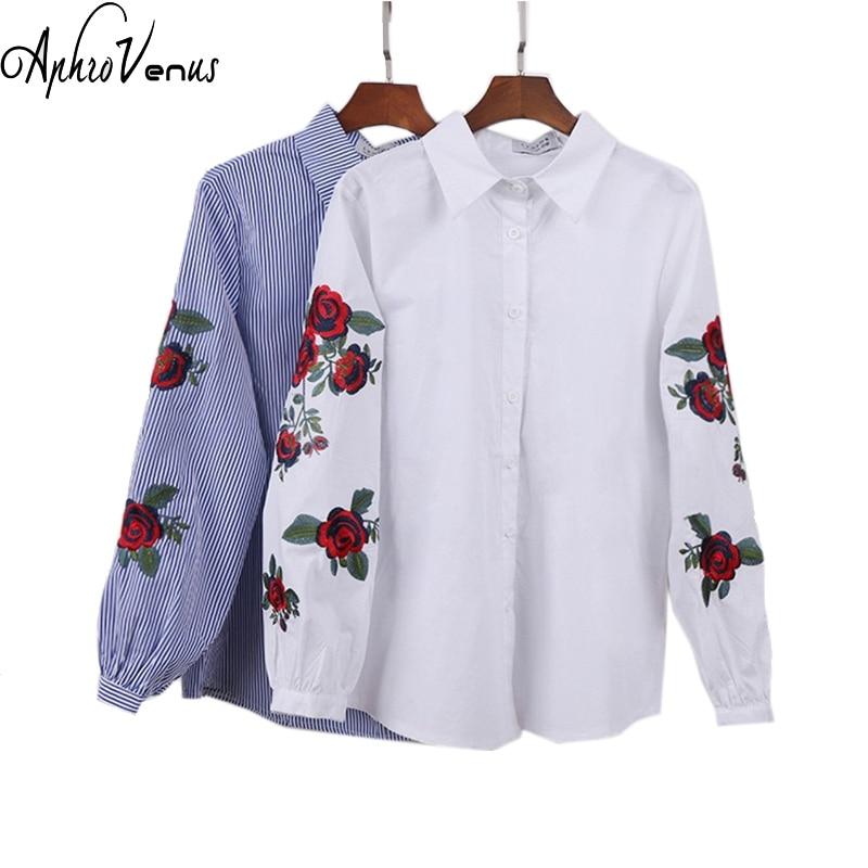 Rozā ziedu izšuvumi svītrains blūze sieviešu garām piedurknēm krekls ikdienas kokvilnas blusa plus izmērs kimono topi birojs Lady Blusas 2019