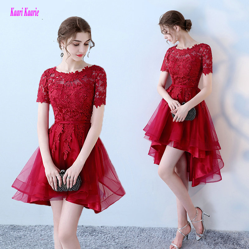 Fast Shipping Burgundy Short Prom Dresses 2018 New Sexy O Neck Lace