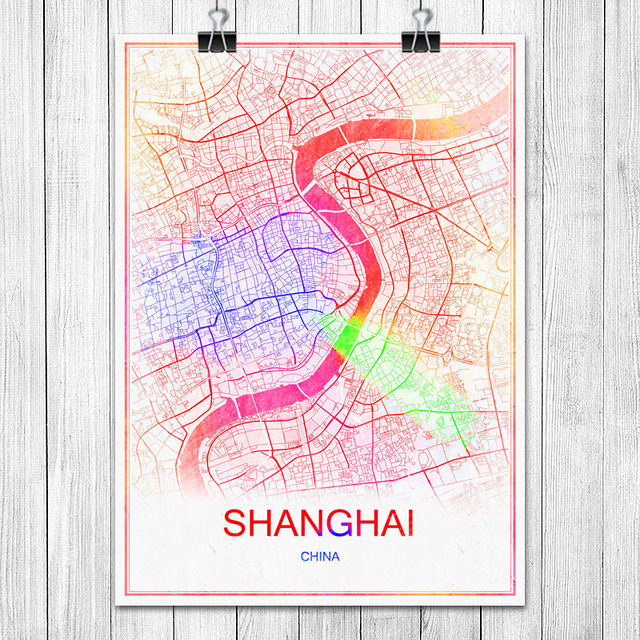 SHANGHAI China Colorful World City Map Print Poster Abstract Coated ...
