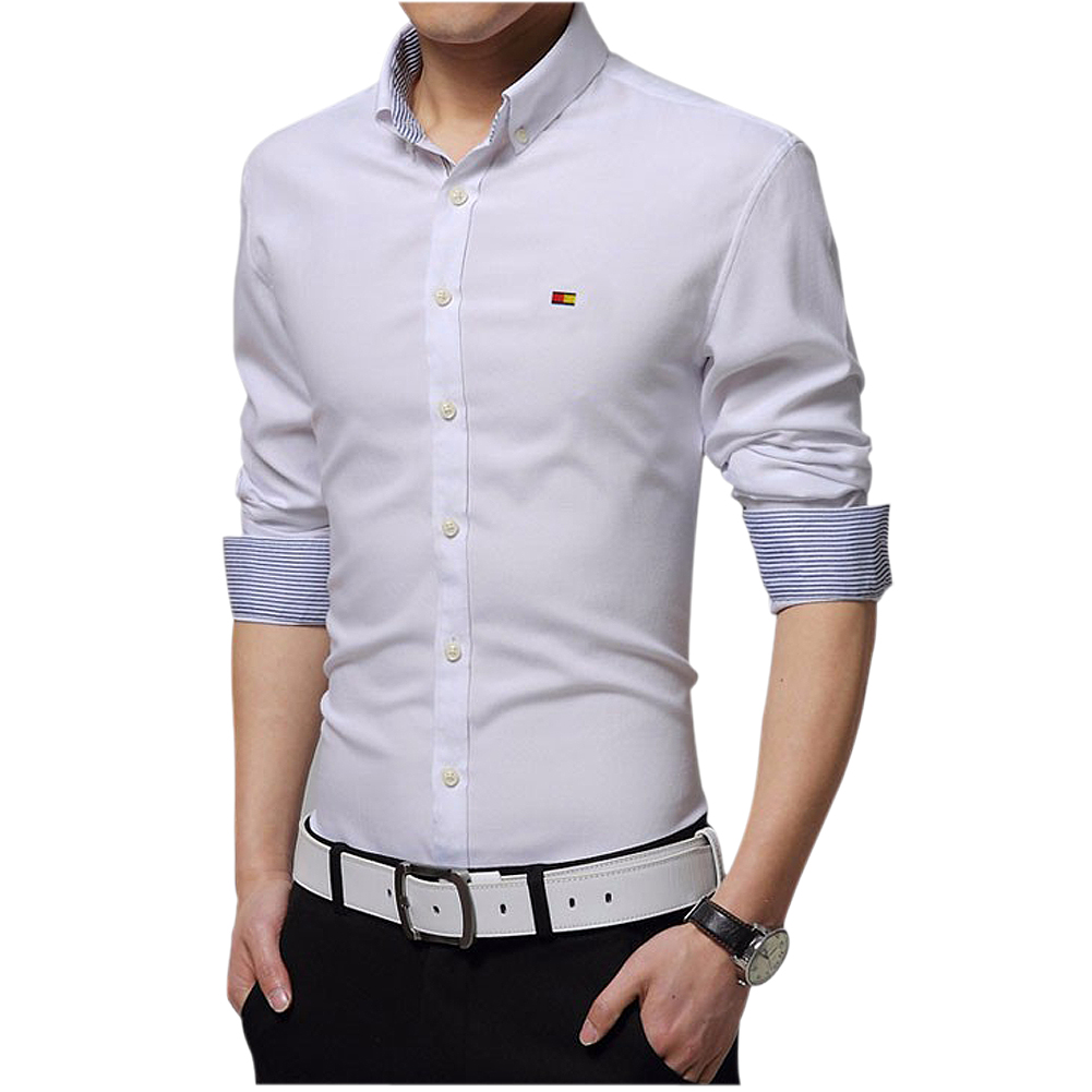Mens Dress Shirts Slim fit Fashion Long sleeve Shirt High Quality Casual  Size M 4XL White Yellow Green Gray Light Blue Red Pink-in Dress Shirts from  Men's ...