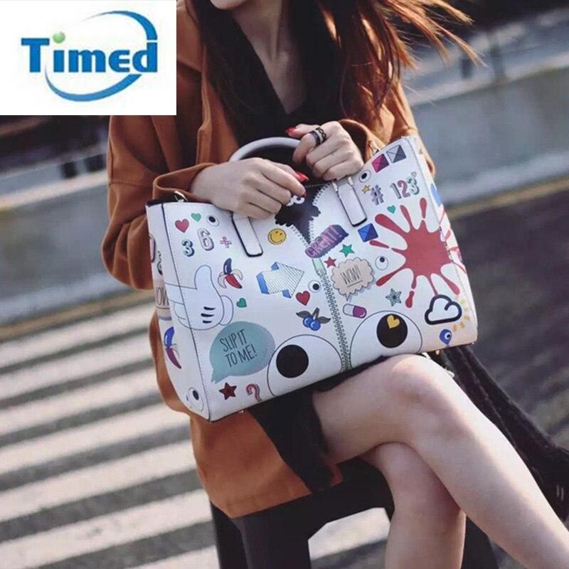 2017 Fashion Women Handbag European American Cartoon Graffiti High Capacity Shoulder Bags Printing Lady Composite Messenger