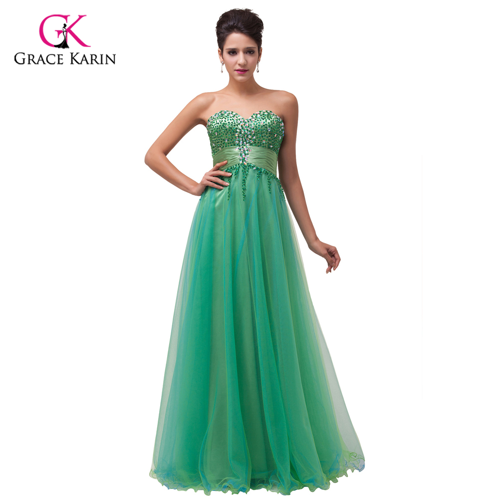 Emerald Green Evening Dresses Grace Karin Beading Sequins Tulle 2017 New Arrival Formal Evening Gowns Long Party Dresses 6063