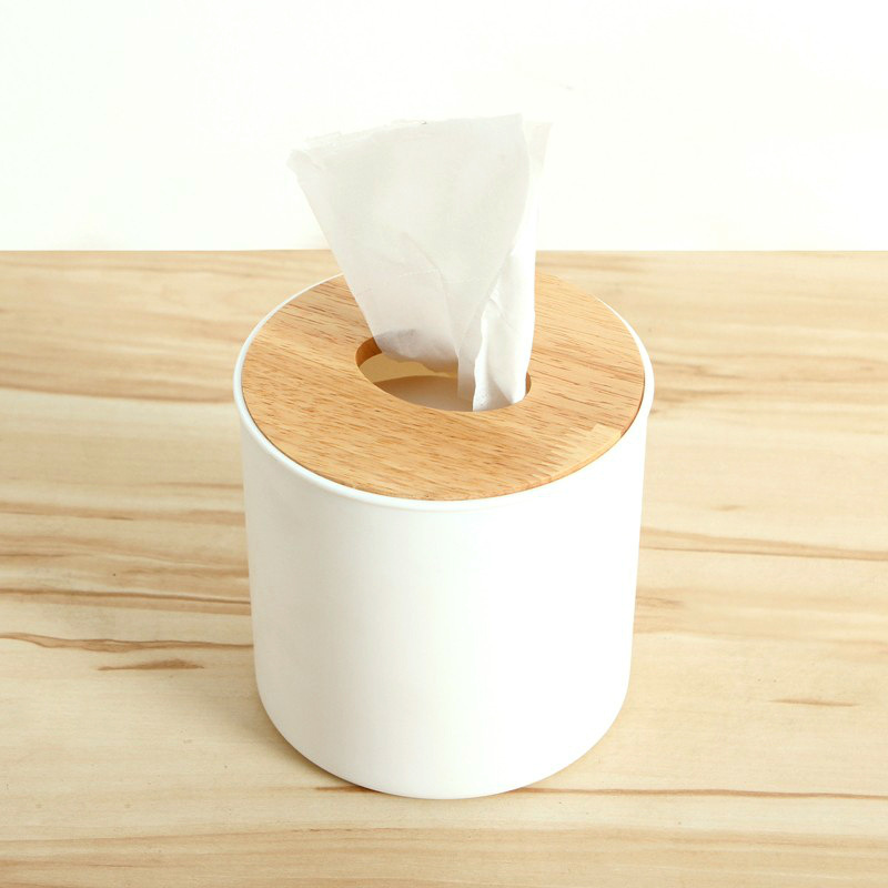 Bathroom bedroom European wooden lid tissue box Sofa coffee table car round wooden lid napkin tray coffee table
