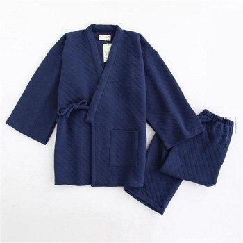 Male Pajamas Pyjamas Suit Casual Sleep Set 2PCS Rone&Pant Nightwear Male Spring Winter  Cotton Kimono Sleepwear Home Wear Loose