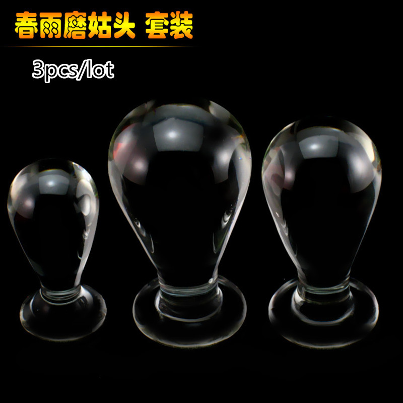 3pcs/lot Large Mushroom crystal glass anal dildo butt plug anal penis gay sex products male masturbator adult sex toys for woman wearable penis sleeve extender reusable condoms sex shop cockring penis ring cock ring adult sex toys for men for couple