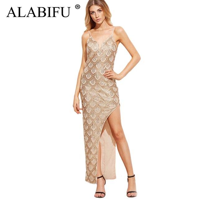 ALABIFU Casual Summer Dress Women 2019 Sexy Club Backless Split Sequin Dress Female Strapless Long Party Dress Vestidos ukraine