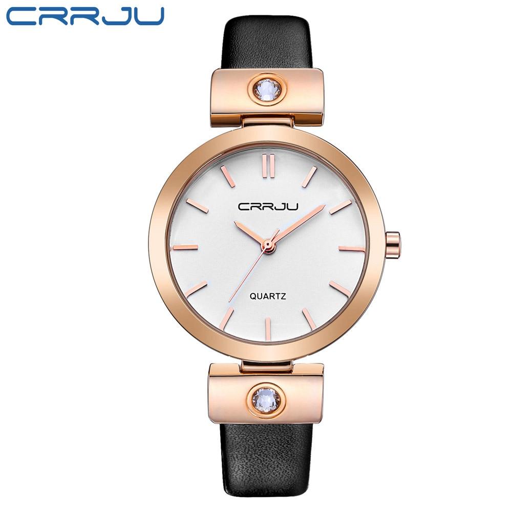 Women Watches Top Luxury Brand CRRJU Fashion Retro Waterproof Leather Bands Quartz Watch Womens Wrist Watches Relogio Feminino