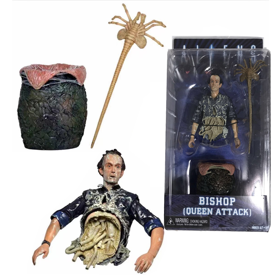 Movie Aliens Figure Bishop Queen Attack Alien Pvc Action Figures Doll Collection Model Toy neca aliens kane dog alien bishop pvc action figure collection model toy 7 18cm