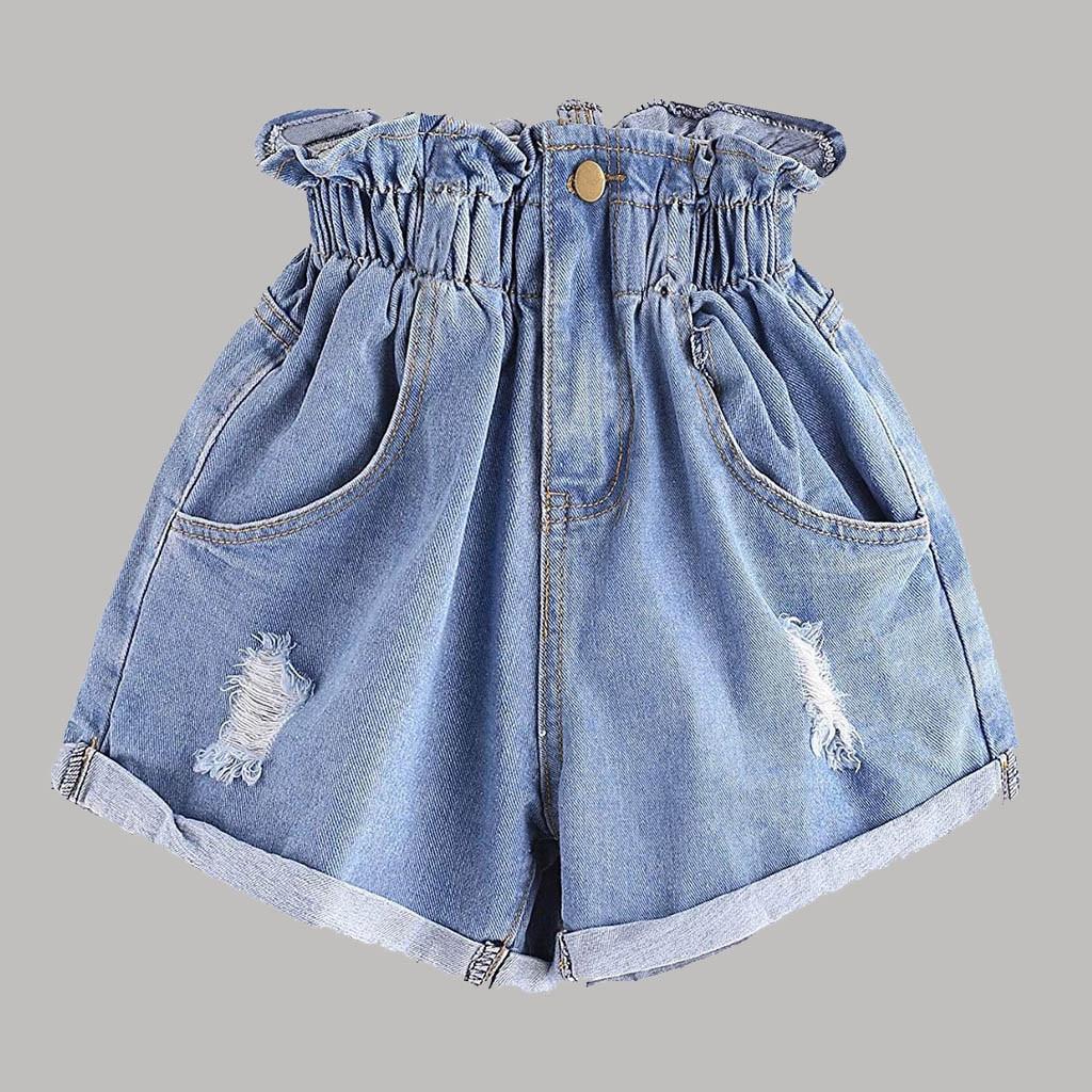 CHAONAN High Waist Denim Shorts Flower Trousers Fashion Casual Denim Shorts Slim Summer Casual Trousers Jeans Female#G