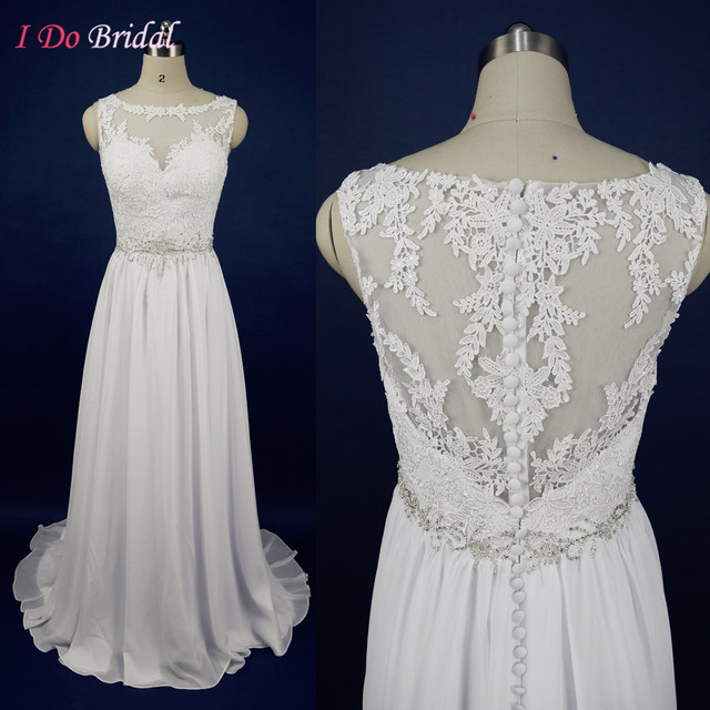 Boho Wedding Dress Real Picture Summer Chiffon Bridal Gowns Lace ...