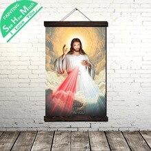 Божественное Милосердие Иисус Свиток Живопись Холст Старинные Плакат и Печать Стены Искусства
