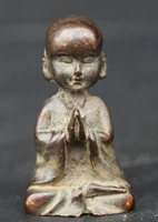 2 China Fengshui Bronze Buddhism Young Lovable Monk Small Shami Statue Statuary