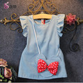 2PCS/summer style korean fashion kids toddler clothes cute Princess Dress+bow bag band baby girls boutique clothing set