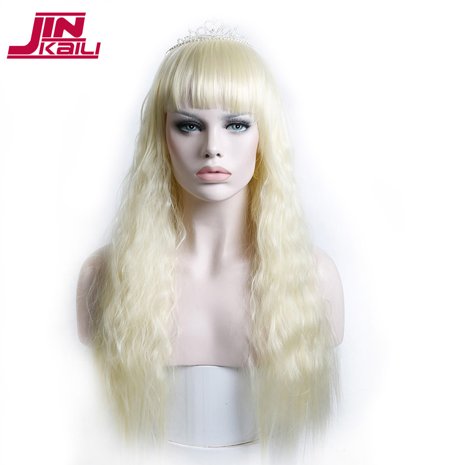 Jinkaili Wig Long Curly Wavy Blonde Wigs With Bangs For