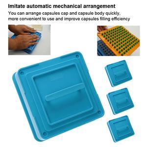 Image 3 - 4 Types 100 Holes Capsule Powder Maker 000# 00# 0# 1# Spreader Plates Manual Filling Capsules Machine Tool Blue