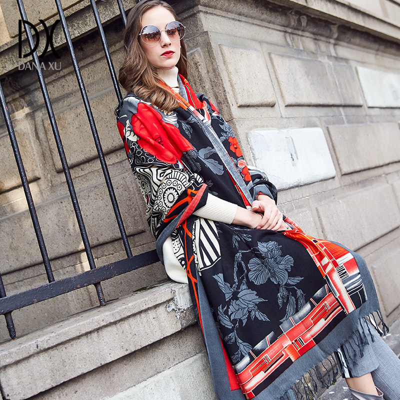Новый Зимний шарф для женщин люксовый бренд пашмины Кашемир Пончо одеяло шарф Wrap шерстяной шарф Женщины бандана мусульманский хиджаб, шаль