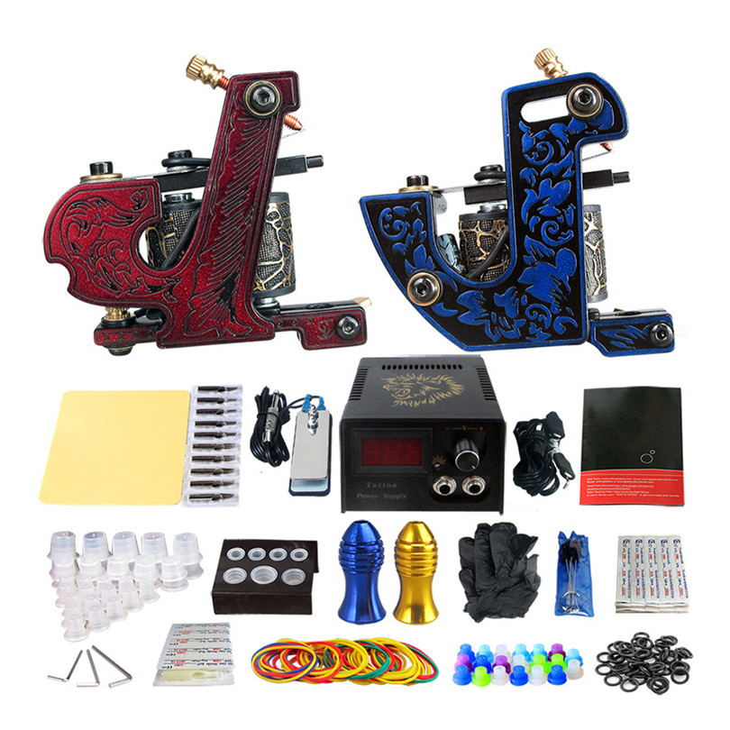 Complete Tattoo Machine Kit Professional 2Pcs Casting Coil Tattoo Machine Guns Power Supply Needles Grips Tips For Body Art p80 panasonic super high cost complete air cutter torches torch head body straigh machine arc starting 12foot