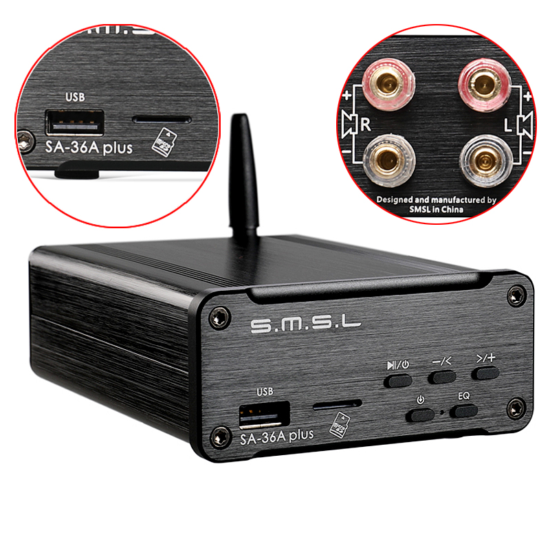 SMSL SA-36A Plus 30W TPA3118 Class d Bluetooth AUX HI-FI Digital Power Amplifier Bluetooth / USB / AUX / TF Card / U Disk Input zly 8801 touchable color change magic lantern resonance speakers w aux input tf white