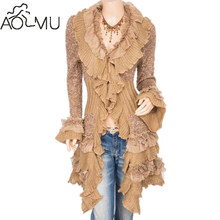 242a78cf98d AOMU 1PC New Fashion Charm Beautiful Ruffles Knit Collared Asymmetric Hem  Cardigan Long Sweater Jacket for Women