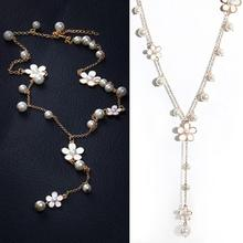 Women Lady Elegant Faux Pearls Flower  Chain Long Necklace Jewelry chic faux pearls feather tassel flower hollow out necklace for women