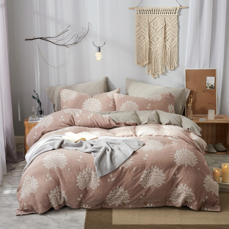 60s Double yarn Dyed Jacquard Cotton Bedding set Luxury King Queen size Bedsheet set Duvet cover flat sheet cotton with Button - 2