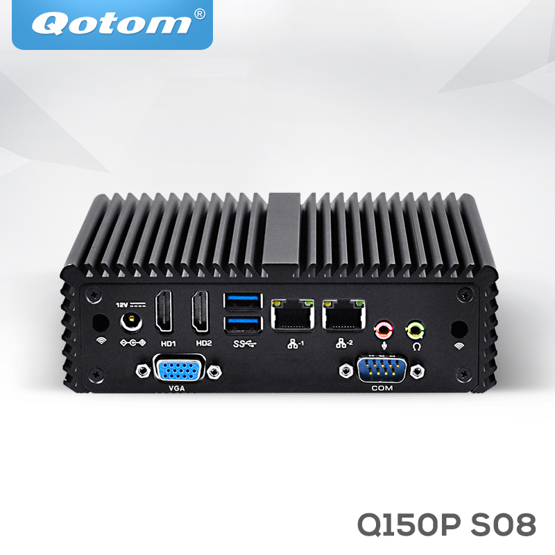 QOTOM Quad core Mini PC with Celeron J3160 processor onboard, up to 2.24 GHz, Fanless Mini PC Dual NIC qotom mini itx motherboard with celeron n3150 processor quad core up to 2 08 ghz 2 lan 2 display port fanless motherboard page 1