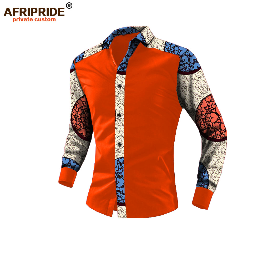 2019 spring african casual shirt for men AFRIPRIDE long sleeve single breasted notched collar men s