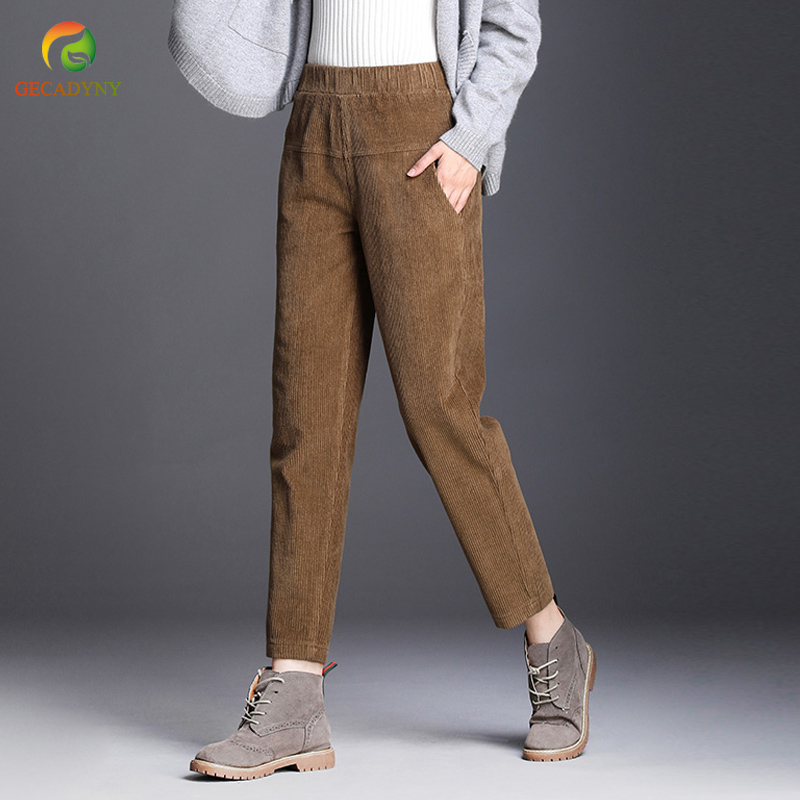 2019 Autumn Winter Women's Corduroy Pants Loose Casual Harem Pants Female Slim Elastic Waistline Ankle Length Trousers Girls 3XL
