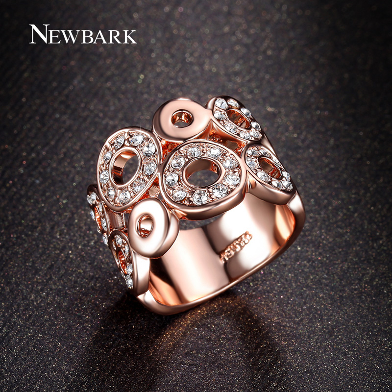 NEWBARK Classic Big Ring Round Fashion Clear CZ Accessories Rose