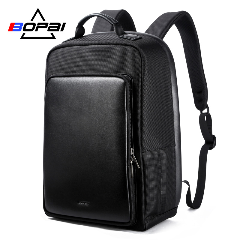 BOPAI Laptop Backpack USB Charge Port Men Shoulders Anti-theft Business Travel Bag Waterproof Teenager School Backpack for Male bopai usb charge backpack men leather for travelling fashion cool school backpack bags for boys anti theft laptop backpack 2018