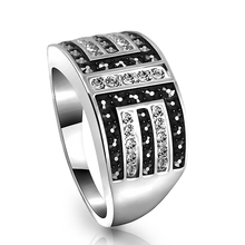 White CZ Diamond Black Drill Beads Silver Signet Rings Men Stainless Steel Knuckles Ring Set Fine Engagement Jewelry Bague Homme