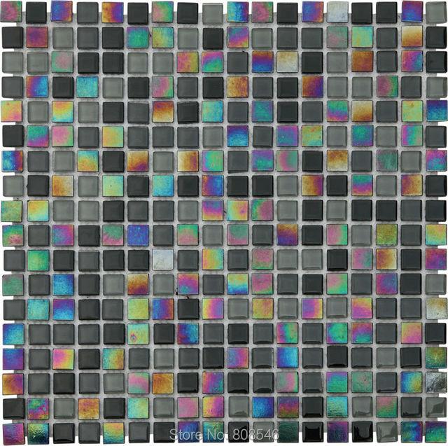 Iridescenza Balck Mattonelle Di Mosaico Di Vetro
