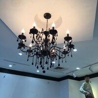 Modern black lampadario di cristallo con pendenti in cristallo lampadari in ferro battuto 10 luci led camera da letto nero lampadario di cristallo