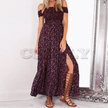 CUERLY slash Neck Boho Maxi Dress Summer 2019 Women Elegant Short Sleeve Casual Loose Clothes Sexy Long Dresses