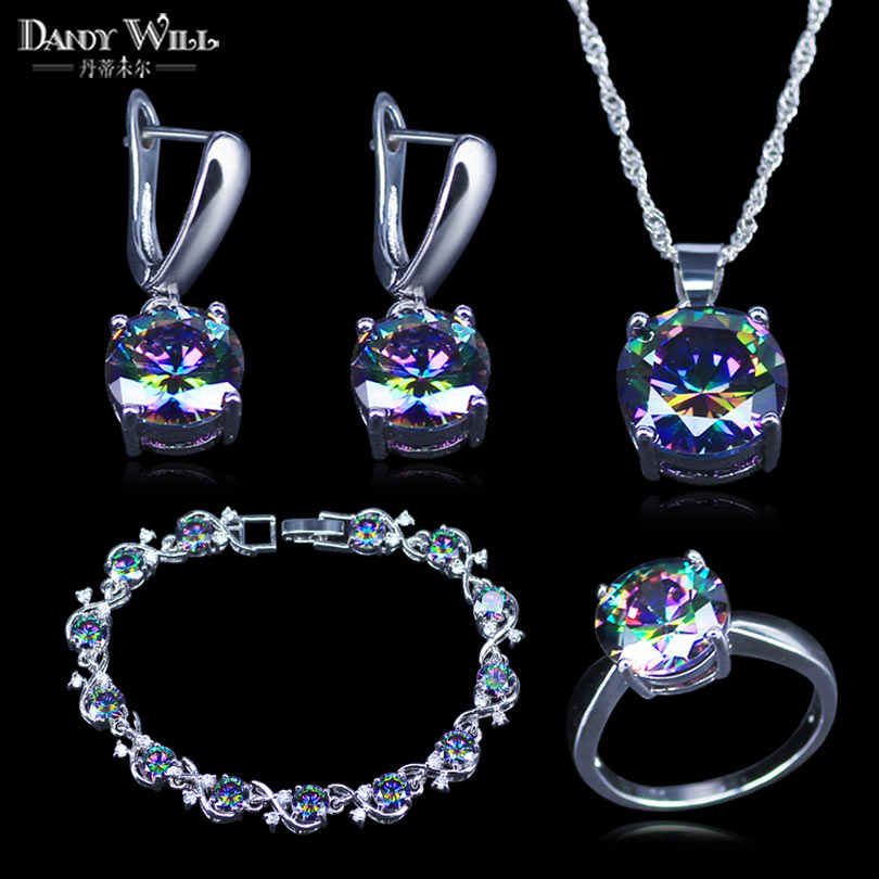 Mystic Rainbow Cubic Zirconia 925 Stamp Silver Color Bridal Jewelry Sets  For Women Wedding Necklace/Earrings/Pendant/Ring/