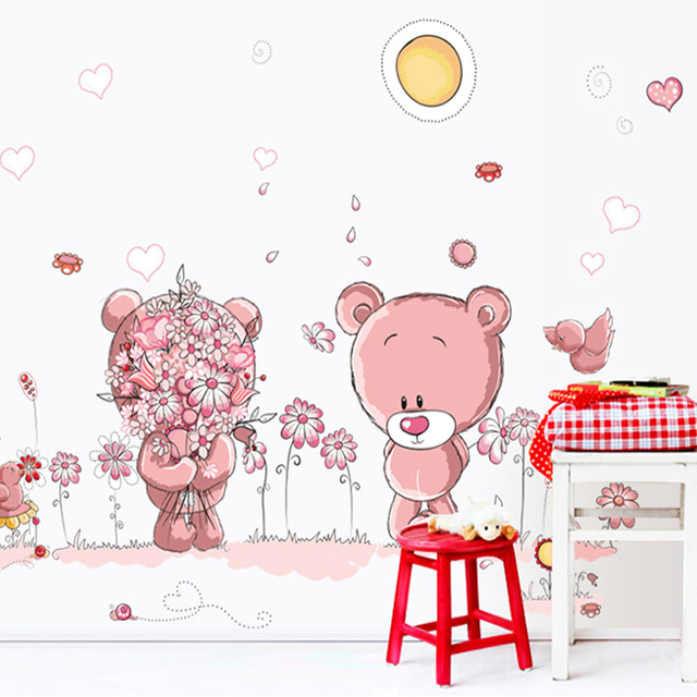 Nursery Wall Decals Cute Bear Wallpaper Removable Vinyl Stickers For Bathroom Home Decor Cartoon Wall Stickers For Kids Rooms