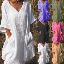 Женское льняное платье рубашка средней длины летнее повседневное
