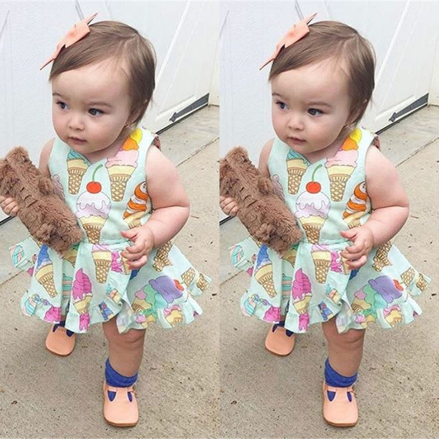 95bc25498d9 Newborn Baby Girls Cute Ice Cream Romper Dress Bodysuit Jumpsuit Sunsuit  USA j