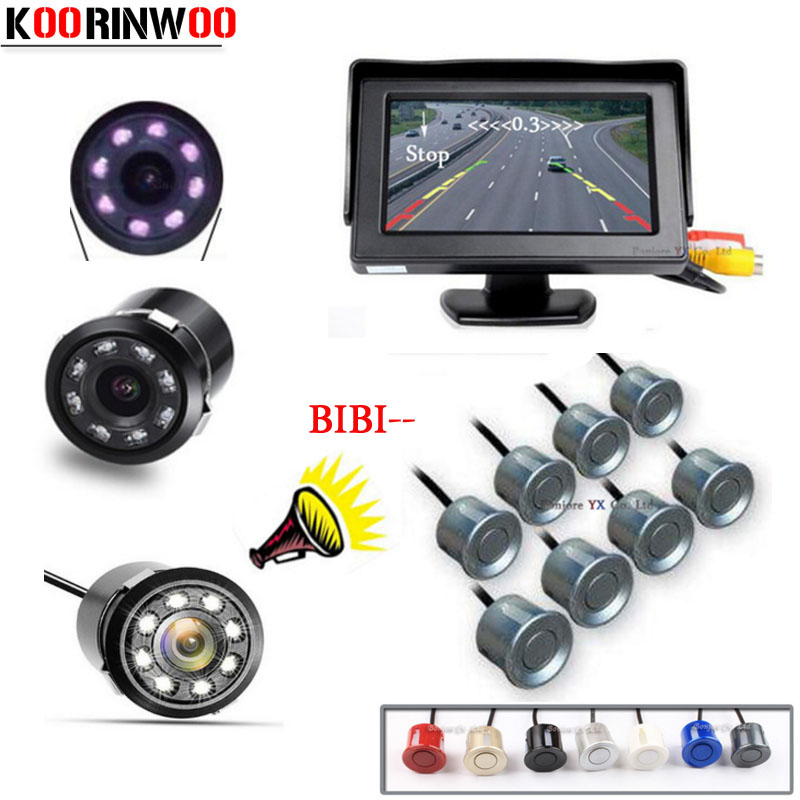 KOORINWOO ensemble complet 4.3 TFT LCD moniteur de voiture Radar de recul capteur de stationnement de voiture 8 système d'alarme auto vue arrière caméra aide au stationnement