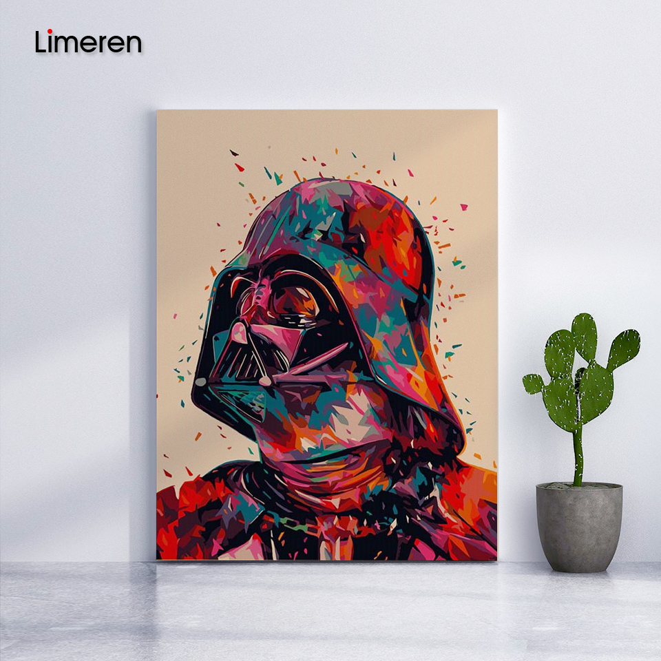 Star Wars 7 Darth Vader DIY Oil Digital Painting By Numbers On Canvas Hand Painted Movie Wall Art Picture Living Room Home Decor image