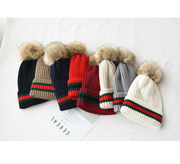 wholesale hot New Winter Thick Faux Fur Pompom Knitted   Skullies     Beanies   Women Striped Bubble Warm Caps Knit Hat with Fur Ball
