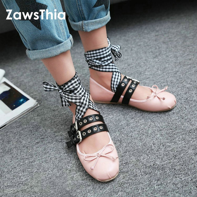 dd1bca02a013 ZawsThia 2019 new fashion girl crossed strap woman ballet flats lace up  buckle flat shoes with bowknot Ballerinas Big Size 32-48