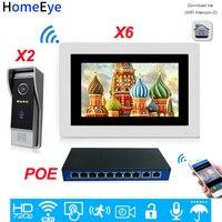 2 6 POE 720 P WiFi ip видео дверной телефон видеодомофон домашняя система контроля доступа Android IOS Телефон дистанционного разблокировки сенсорный э