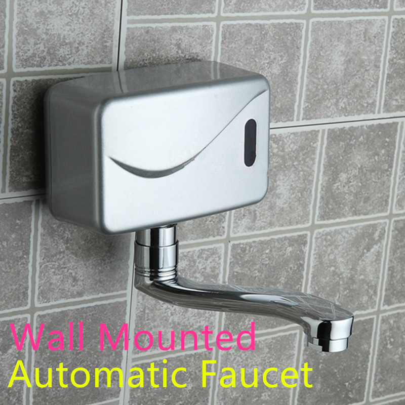 Basin Faucets Bathroom Sinks,faucets & Accessories Turntable Wall Mounted Automatic Sensor Kitchen Faucet Single Cold Water Sense Faucets Basin Hand Washer