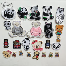 Cartoon panda embroidery Patches Appliques Iron On Patch Cute Bear Sticker for Garment T Shirts Dresses Bags DIY Sewing Crafts(China)