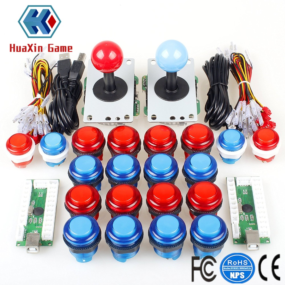 DIY Arcade Kit USB Zero Delay Encoder + 4/8 Way Stick + 5V LED Illuminated Push Button for Video Game Consoles Mame Raspberry Pi