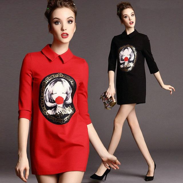 Free shipping 2015 new spring ladies dress Lapel cartoon printing Straight Slim show thin dress